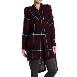 DEX | long sleeved plaid button down tunic
